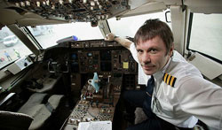 Bruce Dickinson in Plane Cockpit