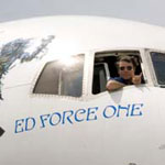 The cockpit of Ed Force One on the ground in Australia