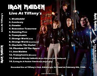 Back cover of Iron Maiden - Live at Tiffany's