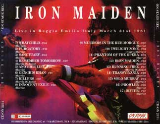 Back cover of Iron Maiden - Reggio Emilia