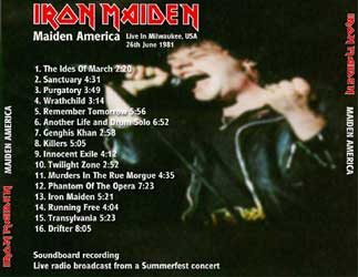 Back cover of Iron Maiden - Maiden America