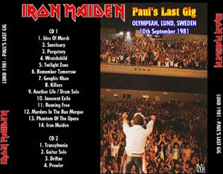 Back cover of Iron Maiden - Lund