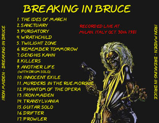 Back cover of Iron Maiden - Breaking In Bruce