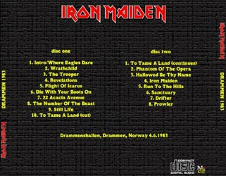 Back cover of Iron Maiden - Drammen 83