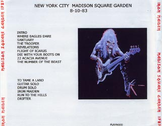 Back cover of Iron Maiden - Madison Square Garden 1983