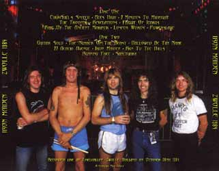 Back cover of Iron Maiden - Zwolle 84