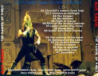 Back cover of Iron Maiden - The Power Of Paris