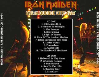Back cover of Iron Maiden - Live In Quebec City 1984