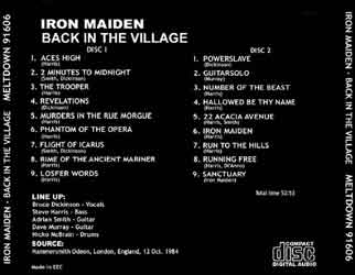 Back cover of Iron Maiden - Back In The Village