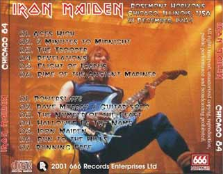 Back cover of Iron Maiden - Chicago 84