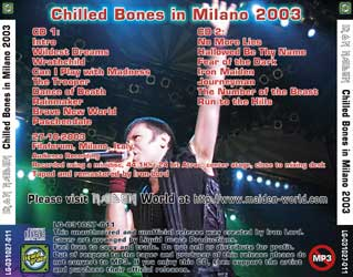 Back cover of Iron Maiden - Chilled Bones in Milano 2003