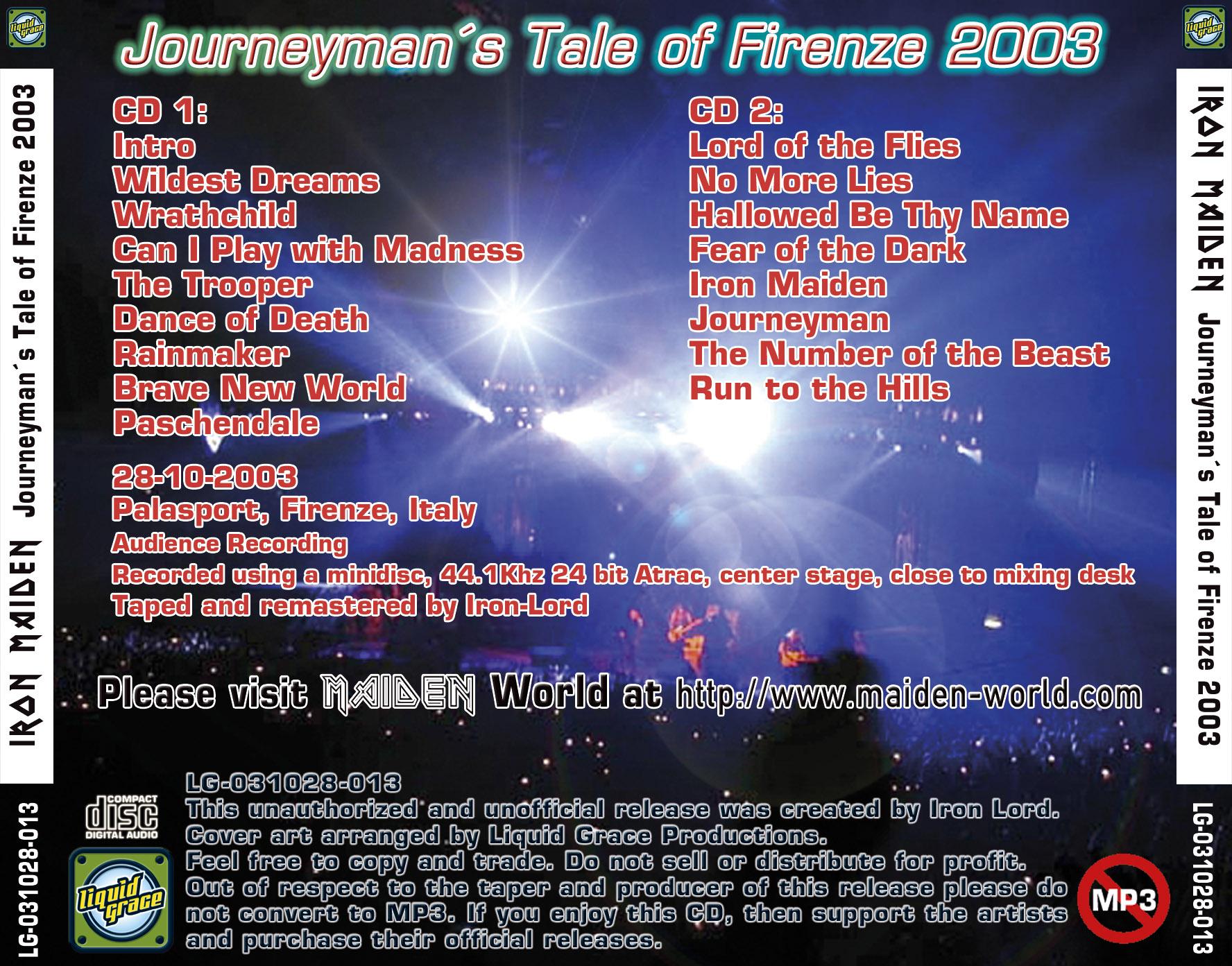 Iron Maiden Bootlegs - Journeyman's Tale of Firenze 2003
